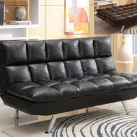 Leather Futon Euro Couch Extra Plush Comfort Sleeper