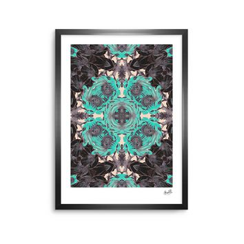 "Justyna Jaszke ""Mandala Blue Art"" Blue Gray Abstract Pattern Digital Illustration Framed Art Print"