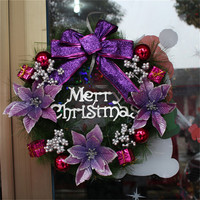 Christmas Wreath Wall Home Door Decor Multi Colors Ball Flower Bowknot Garland Xmas Party Hanging Ornament Decoratoins
