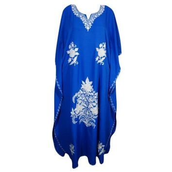 Mogul Womens Kimono Caftan Bright Blue Beautiful Ethnic Floral Embroidered Kashmiri Indian Evening Wear House Dress Maxi Kaftan - Walmart.com