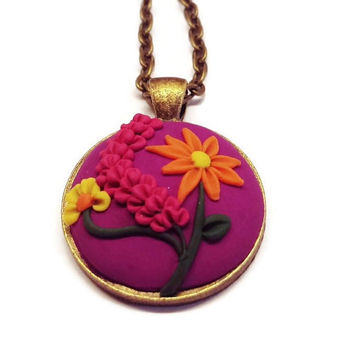 Polymer Necklace purple necklace handmade flower necklace pendant women's jewelry statement jewelry bohemian gift idea gift for her charm