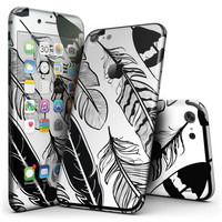 Vector Black and White Feathers - 4-Piece Skin Kit for the iPhone 7 or 7 Plus