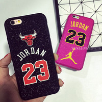 Hot Bling Bling Lovely Chicago Bulls Logo Michael Jordan No.23 Soft Silicon Caso Cover for iPhone 6 6S Plus 5 5S Case Coque