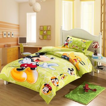 100% Cotton Mickey Mouse and Minnie Duvet Cover Set Twin Single Size Bedding Set 1.2m Bed for Children Bedroom Decor
