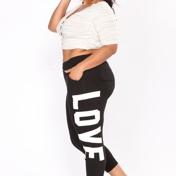 Love Print Lounge Joggers - Black