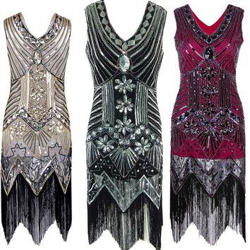 Sequin Beading Deep V Neck Fringed Flapper Retro Dress 1920s Great Gatsby Bling Dress Black Party Lady Dress For Women Femme