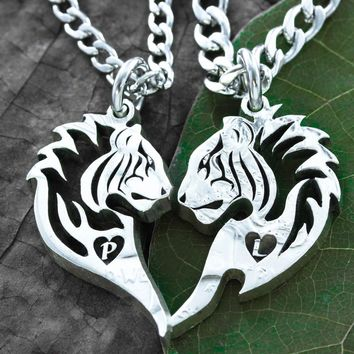 Tribal Tiger Couples Necklaces, Heat and Initial, Friendship Jewelry, Hand Cut Coin