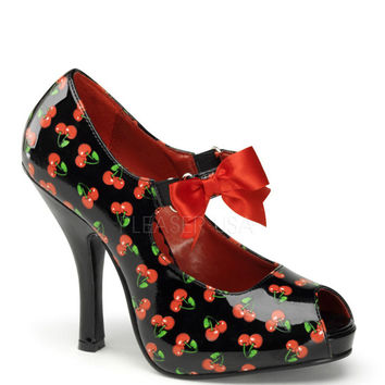 Pinup Couture Cutiepie Black Cherry Open Toe Platforms