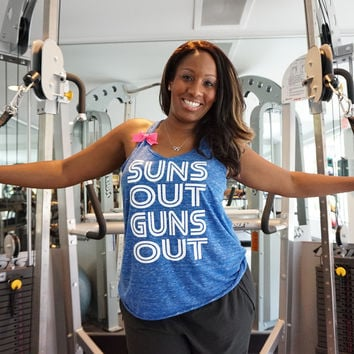 Suns Out Guns Out - Ruffles with Love - RWL -Racerback Tank - Womens Fitness - Workout Clothing - Workout Shirts with Sayings