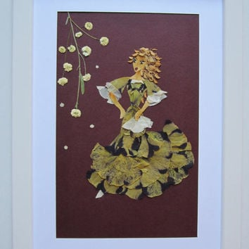 "Unique picture from pressed flowers ""Movement"" - Pressed flowers art - Unique gift - Art collage - Home decor wall art - Framed picture."