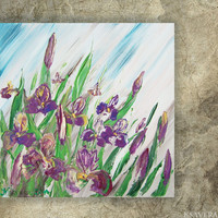 IRISES Painting floral wall art Iris FREE SHIPPING palette knife impasto Modern blue green lilac paintings on canvas acrylic summer Ksavera
