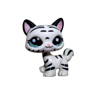 Pet Shop Animal Black Striped White Cat Loose Figure Child Girl Toy