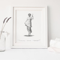 PRINTABLE art, Terpsichore, Muse of Dance, enhanced vintage reproduction, 1803, art print, home decor, poster