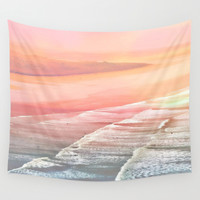 Pink Ocean Wall Tapestry by  Alexia Miles Photography