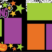 Halloween Handmade Premade 12X12 2-Page Scrapbook Page Layout-Happy Haunting