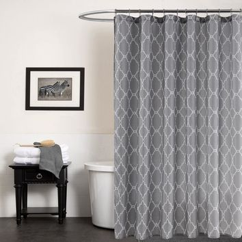Gray Bath Curtain Waterproof Geometric Printed Fabric Shower Curtains 70x72Inch