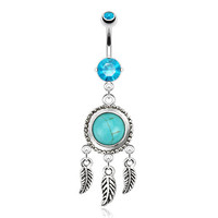 Dream Catcher  with Turquoise Semi Precious Stone and Leaves Dangle Navel Ring