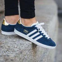 Best Online Adidas Originals Wmns Gazelle OG  Night Indigo/Footwear White/Gold Metallic Sneakers Classic Casual Shoes -  S78875