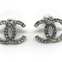 KC Luxury Classic Silver Earrings With Crystals