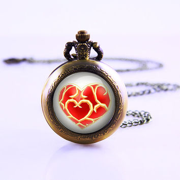 life Zelda heart container necklace , Pocket watch Time Lord seal, vintage pocket watch , 30mm Dome Watch