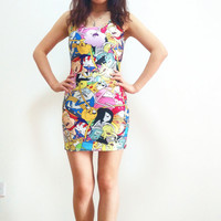 Adventure Time Dress,Colorful Sexy Printed Dress,White Colorful printed Dress,Spandex shinny Dress,Maxi Clothing,Famous Print Dress