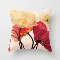 Posing Poppies - bright, vintage toned poppy still life Throw Pillow by micklyn