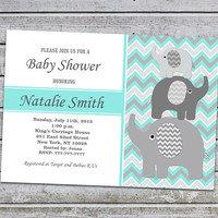 Baby Shower Invitations Boy Elephant Baby Shower Invitation Printable Baby Shower Invitation Invites (L11) Instant Download