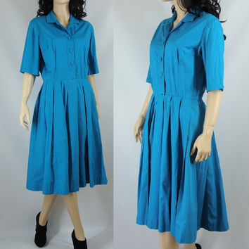 "Fifties Electric Blue Day, 50s Fit and Flare Vintage Dress, 30"" Waist, Medium"
