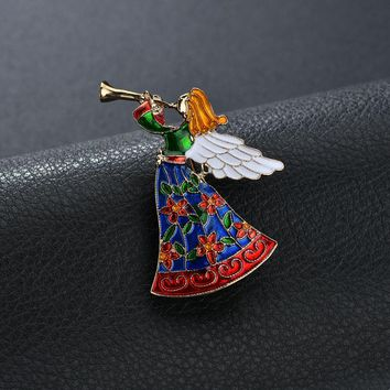 Terreau Kathy Angel Wings Music Angel Brooch For Women Girl Dress Accessories Green & White Crystal Brooch Rhinestone Pins