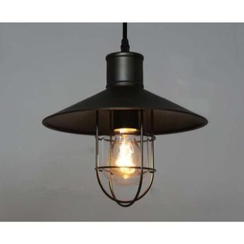 Edison Pendant Lighting hanging Industrial Caged Vintage Style black shade (ED277P)
