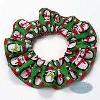 Penguins Green Christmas Winter Dog or Cat Scrunchie Neck Ruffle