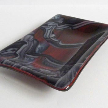 Rectangular Dish in Red, Black and White