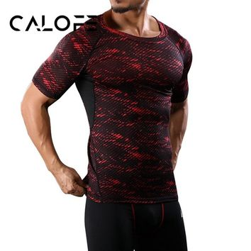 CALOFE Brand Running Quick Dry T-Shirts Men Printed Camouflage Sports Tee Shirts Summer Compression Slim Top Elastic Fit Tee