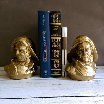 Brass Fisherman Bookends/ Fathers Day Gift/ Old Salt Fishermen Bookends/ Sea Captain Bookends/ PM Craftsman Sea Captain Bookends