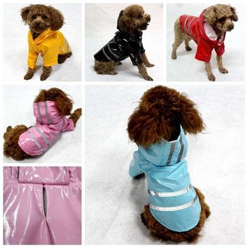 Dog Hooded Raincoat Night Reflective Safety Clothes Pet Waterproof  Fluorescence Jacket Coat Dog Rain Coat For Small Dogs