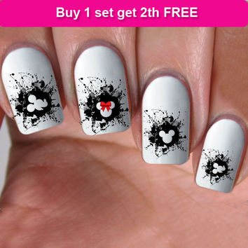 buy 1 get 1 free, 60 NAIL DECALS, minnie red bow, Nail Art,  Water Slide Decals Nail,Nail Art design, Nail Transfers,Tattoos, DS11