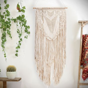 KiWarm 2018 New Arrival 117X36CM Handmade Macrame Cord Decorative Cord Rope Macrame Tapestry Boho Home Decor DIY Wall Hanging