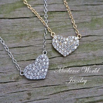 Pavé Clear Cubic Zirconia Heart Necklace