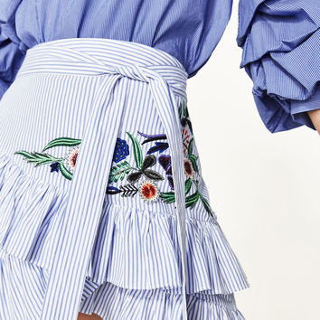 STRIPED EMBROIDERED SKIRT