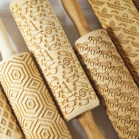 Set of 3- Embossing rolling pin for cookies