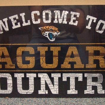 "JACKSONVILLE JAGUARS WELCOME TO JAGUARS COUNTRY WOOD SIGN 13""X24'' NEW WINCRAFT"