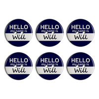 Will Hello My Name Is Plastic Resin Button Set of 6