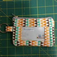 ID Wallet, Coin Purse, Zipper Closure, Made With geometric triangles Fabric