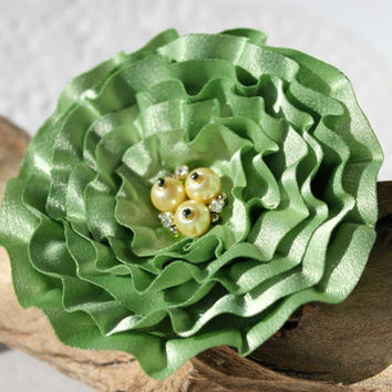 Light Green Cabbage Flower Pin Or Hair Clip With Beads And Rhinestone In The Centre