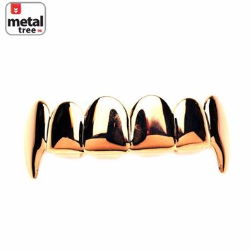 Jewelry Kay style Men's Vampire GRILLZ Plain Fang Rose Gold Plated Top Upper Teeth Dracula L020 RG