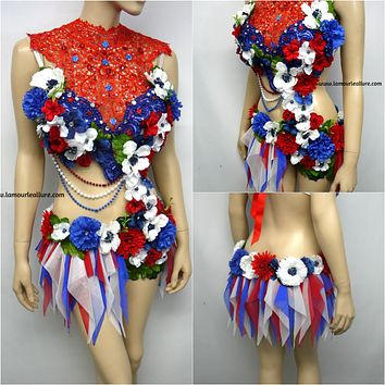 4th Of July USA Red White and Blue Fairy Monokini Bra and Shorts Costume