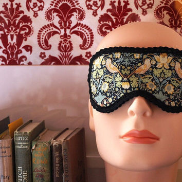 Limited edition. Handmade eye mask, vintage Liberty of London fabric, reversable black satin and velvet ribbon.