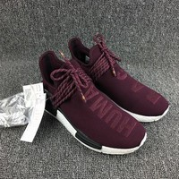 Adidas Boost Nmd Human Race BB0617 Wine Red Women Men Fashion Trending Running Sneakers