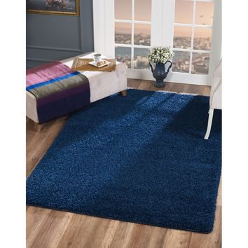 Delphia Rugs Soft Cozy Navy Blue Color Solid Shag For Living and Bedroom Soft Shag Area Rug 5x8
