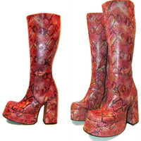 Knee High Platform Boots Vintage Womens Pink Snakeprint Glam Club Kid Boots Wms US Size 8 Made In Spain